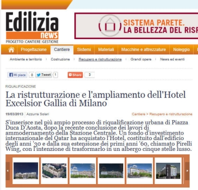 Tecnochem Italiana S.p.A. reinforces the Hotel Excelsior Gallia in Milan