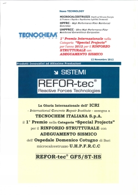 REFOR-tec Award of Excellence per Ospedale Cotugno di Bari Newsletter