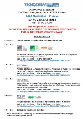 TECHNICAL MEETING ON INNOVATIVE TECHNOLOGIES FOR STRUCTURAL STRENGTHENING - November 19, 2013 at RIMINI - RIMINI PROVINCE