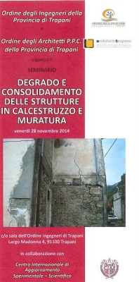 "Review Seminar entitled ""DETERIORATION AND CONSOLIDATION OF CONCRETE STRUCTURES AND MASONRIES"