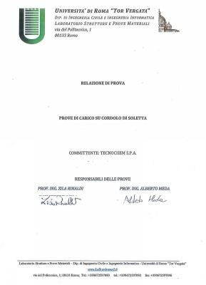 Report Prove di Carico su Cordolo di Soletta, Università Tor Vergata Roma, 29 October 2012